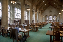 Gargan Hall in Bapst Library with the restored original tables and chairs.
